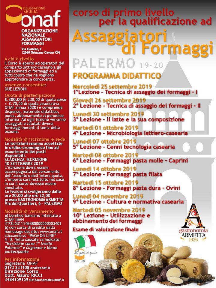 Locandina_programma_corso _primo_livello _assaggiatori_formaggi_Onaf_Palermo_Gastronomia_Armetta
